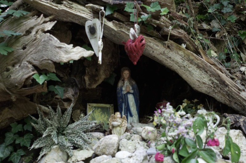 A tiny little shrine to Mary I found in the forest during a walk on Sunday afternoon.